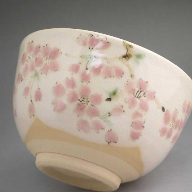 【京焼 清水焼】桜 抹茶碗