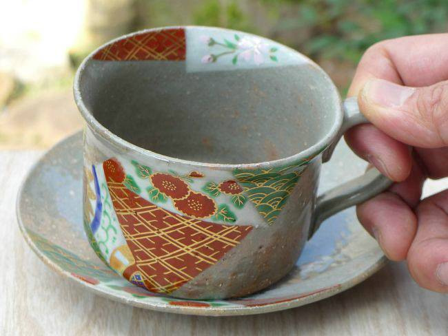 着彩金襴コーヒー茶碗 善昇