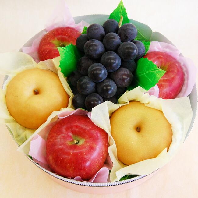 りんご、梨、ぶどうの入ったラッピング果物セット
