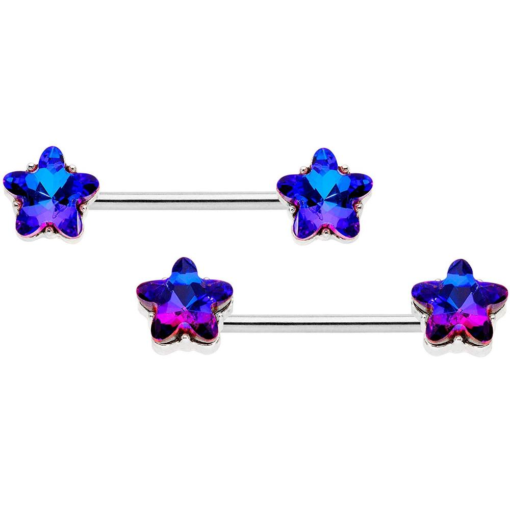 Body Candy 14G Nipplerings Piercing Plated Steel 4Pc Blue Accent Star BCR Barbell Nipple Ring Set of 4