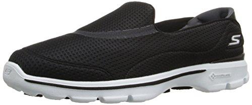 New Womens Skechers Blue Go Walk 3 Unfold Nylon Trainers Running Style Slip On