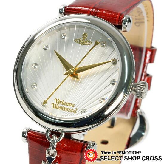 ヴィヴィアン・ウエストウッドVivienneWestwoodレディース腕時計アナログオーブチャーム付きレザーベルトVV108WHRDレッド赤色