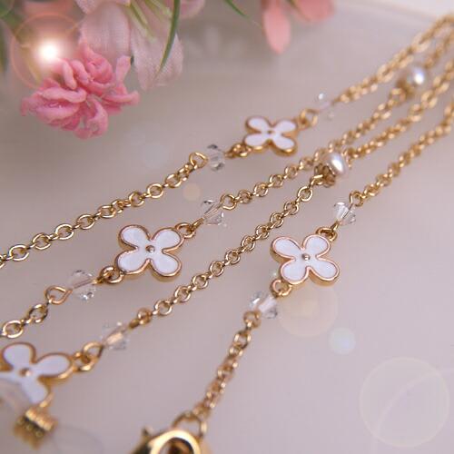 お花とパールとスワロフスキー メガネチェーン 眼鏡 チェーン グラスコード めがねチェーン ピンク ブラック ホワイト 風水カラー