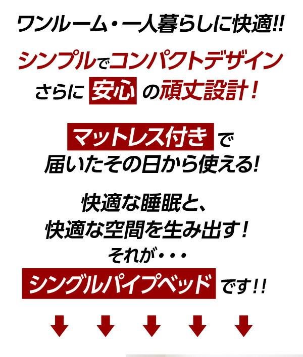 シンプル&コンパクトデザイン!シングルパイプベッド【-Chess-チェス】(フレーム+ロール梱包のポケットコイルマットレス)