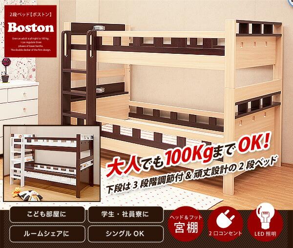 大人でも使えるオシャレな2段ベッド【ボストン-BOSTON】(2段ベッド すのこ 耐震)