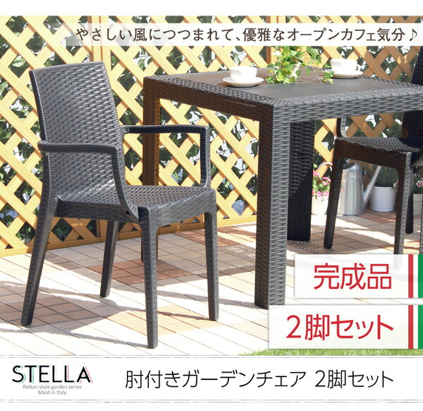 ガーデン肘付チェア 2脚セット【ステラ-STELLA-】(ガーデン カフェ)