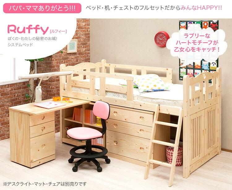 組み変え自由自在のシステムベッド【ルフィー-ruffy】システムベッド 学習机