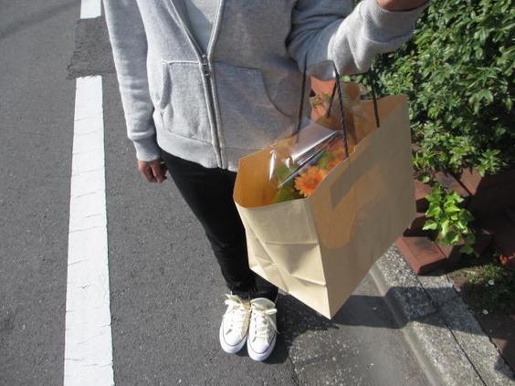 アレンジ 花束 手提げ袋