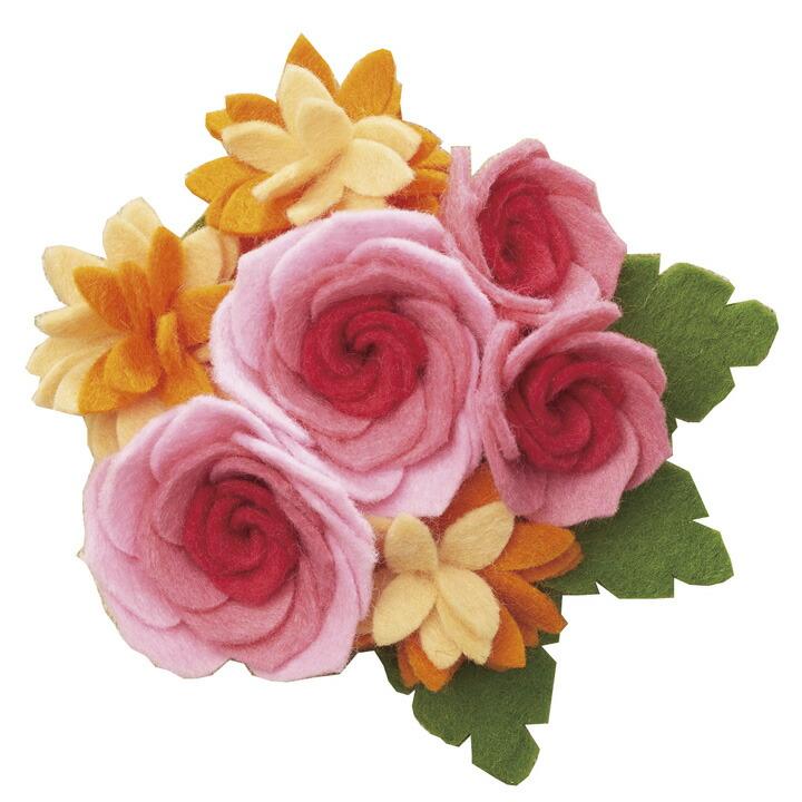 フェルトで作る お花ブローチ バラ