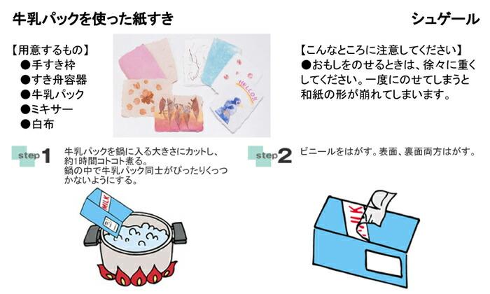 牛乳パックを使った紙すき 手芸材料の通信販売シュゲールです。