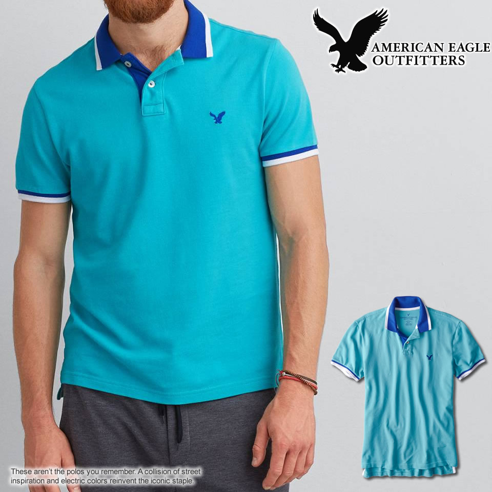6e3776ca shushubiz: 2 purchase! Eagle mens short sleeve polo shirt AEO SOLID ...