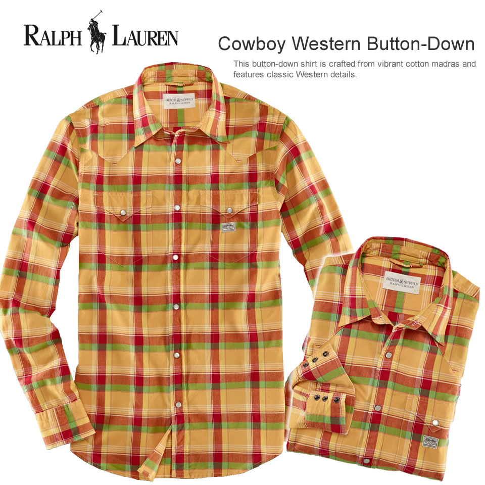 dbd083ae0a10a Polo Ralph Lauren men s long sleeve casual shirt Cowboy Western Button-Down  テニスンプレイド (POLO RALPH LAUREN) (20571006) (S M L XL)