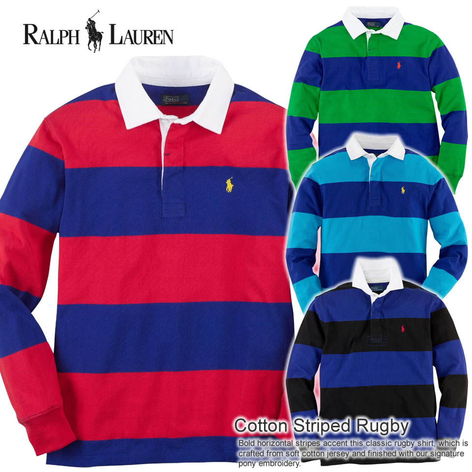9851dff6fe2 Four colors of polo Ralph Lauren Boys long sleeves polo shirt Cotton Striped  Rugby (POLO