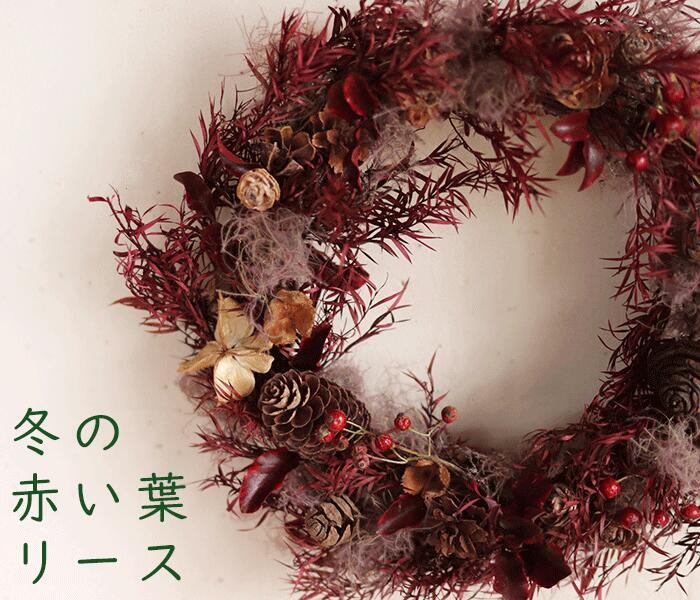 冬の赤い葉リース