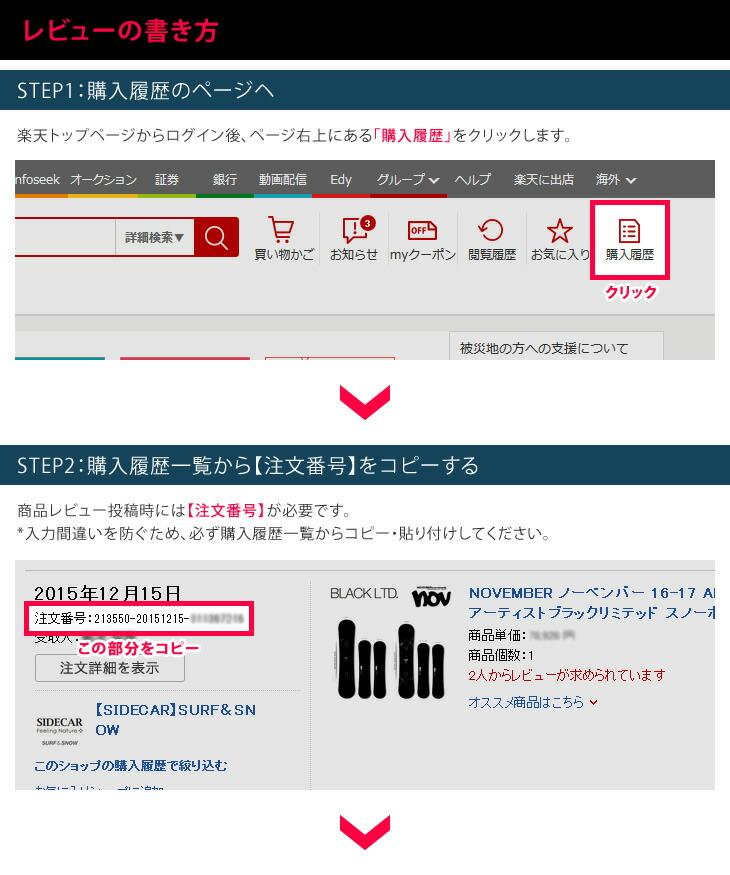 [レビューの書き方] STEP1:購入履歴のページヘ STEP2:購入履歴一覧から【注文番号】をコピーする