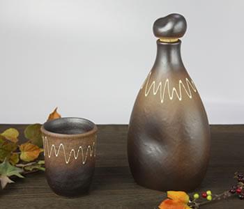 陶器のマイナスイオンボトル・茶色