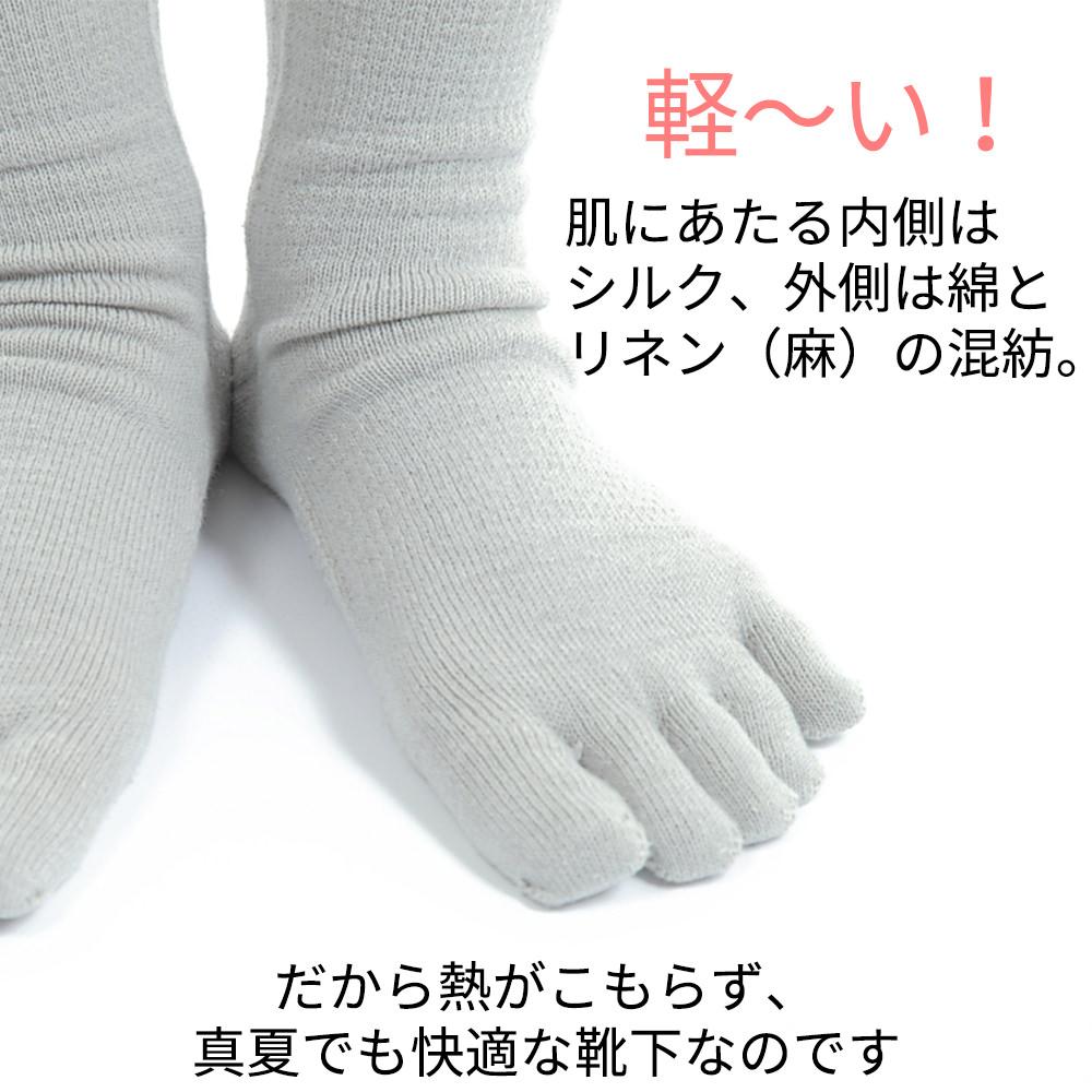 軽い。肌にあたる内側はシルク、外側は綿とリネン(麻)の混紡。だから熱がこもらず、真夏でも快適な靴下なのです