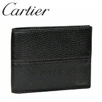 カルティエ 2つ折り財布小銭入れ付き エボニーサドルステッチ L3001159