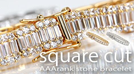 スクエアカット ダイヤモンド 模造 キュービックジルコニア チェーン ブレスレット メンズ