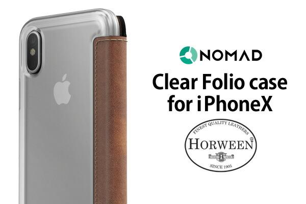 NOMAD CLEAR FOLIO CASE for iphoneX/ノマドクリアフォリオケース 革
