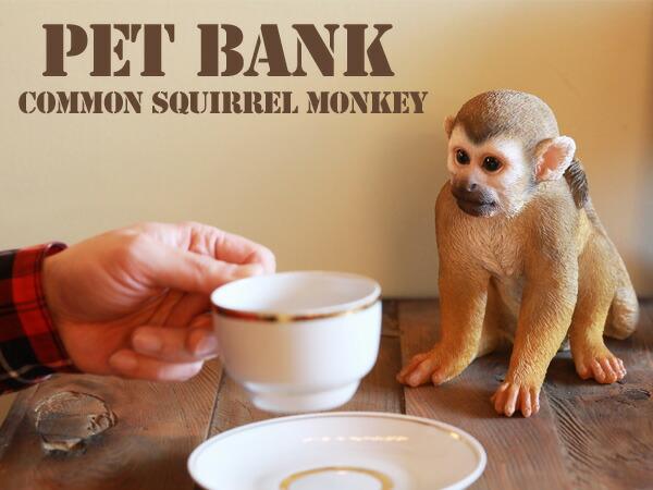 PET BANK ペットバンク リスザル COMMON SQUIRREL MONKEY モンキー 貯金箱 リアル 造形