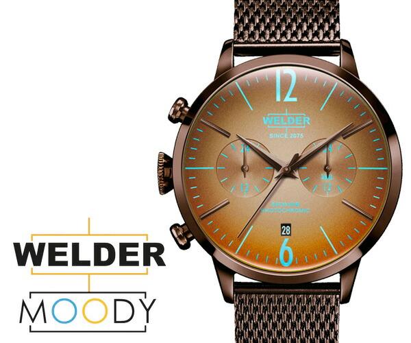 WELDER MOODY/ウェルダー ムーディー デュアルタイム 42mm 偏光ガラス メッシュベルト 三針 WWRC804 WWRC809
