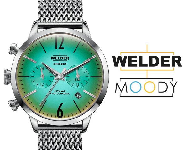 WELDER MOODY/ウェルダー ムーディー デュアルタイム 38mm 偏光ガラス メッシュベルト 三針  WWRC601