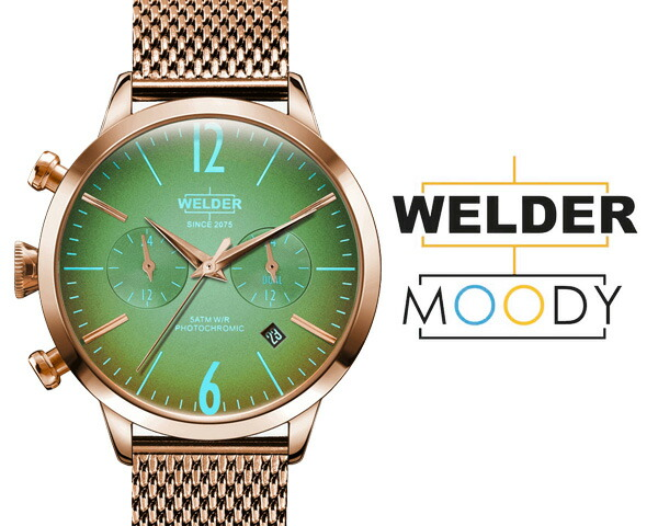 WELDER MOODY/ウェルダー ムーディー デュアルタイム 38mm 偏光ガラス メッシュベルト 三針  WWRC605