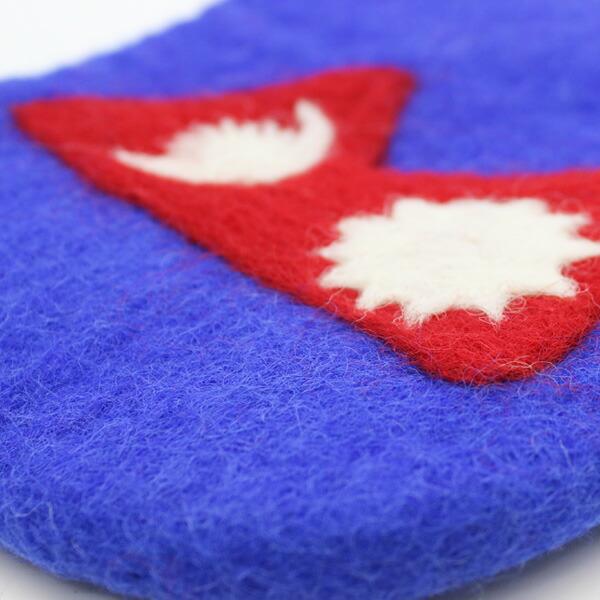 国旗柄 フラッグフェルトポーチ ウール 小物入れ