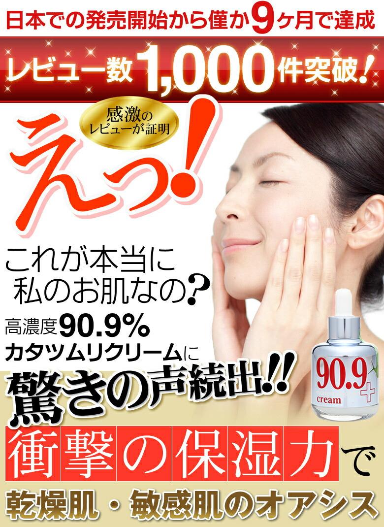 日本での発売開始からわずか9ヶ月で達成。レビュー数1000件突破!感激のレビューが証明。えっ、これが本当に私のお肌なの?高濃度90.9%カタツムリクリームに驚きの声続出!!衝撃の保湿力で乾燥肌・敏感肌のオアシス。