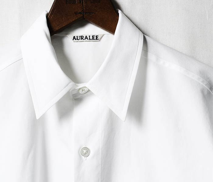 [送料無料]オーラリー/AURALEE 日本製 ウォッシュドフィンクスツイル ハーフスリーブ 5分袖 ビッグシャツ WASHED FINX TWILL HALF SLEEVED BIG SHIRTS (A8SS03TN-HS-SH)