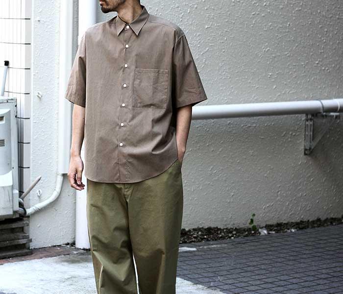 オーラリー AURALEE 日本製 ハーフスリーブ ビッグシャツ ウォッシュドフィンクスツイル 5分袖 2019SS WASHED FINX TWILL HALF SLEEVED BIG SHIRTS (A9SS02TN-HS-SH)