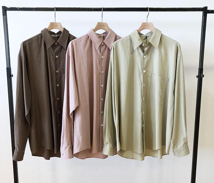 オーラリー AURALEE 日本製 ビッグシャツ ウォッシュドフィンクスツイル 2019SS WASHED FINX TWILL BIG SHIRTS (AURALEE-WFINX-TWILL-BIGSH (A9SS01TN))