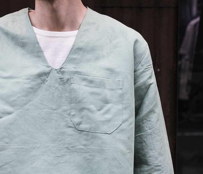 デッドストック/DEADSTOCK ハンガリー軍 リネン パジャマシャツ Vネック プルオーバーシャツ (HUNGARY-PAJAMA-SH-GRN)