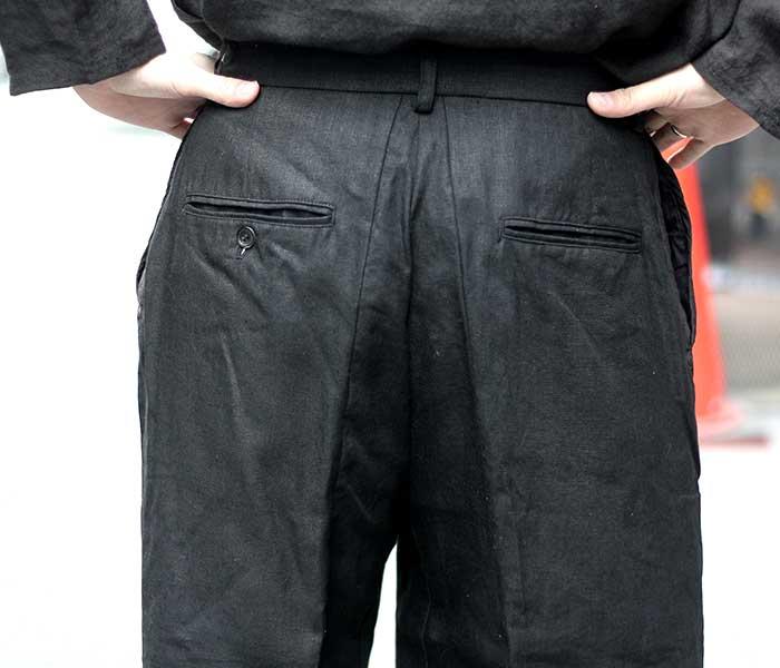 マイヌ MAINU 日本製 ブラック スリーブパターンカット トラウザーズ パンツ リネン 2019SS Black Sleeve Pattern Cutted Trousers (MAINU-151901-BLK)