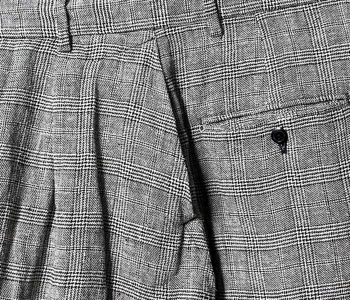 マイヌ MAINU 日本製 グレンチェック サイドダーツポケット ワイド ショーツ シルク/リネン ショートパンツ S/L Side Dirts Pocket Wide Shorts (MAINU-151904)