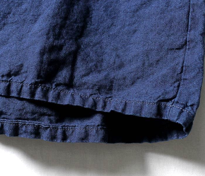 [送料無料]オアスロウ(オアスロー)/orSlow 日本製 ''インディゴリネン'' ポッタリーシャツ ロンT バスクシャツ (03-8001-01)