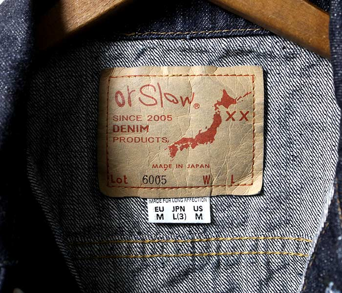 [送料無料]オアスロウ(オアスロー)/orSlow 日本製 60's サードタイプ デニムジャケット ジージャン (01-6005-81)