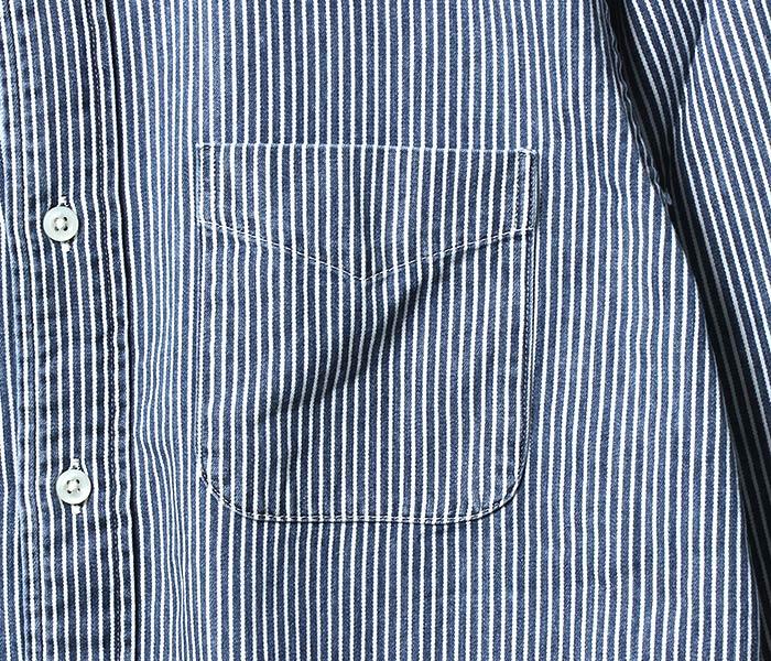 [送料無料]オアスロウ(オアスロー)/orSlow 日本製 ヒッコリーストライプ ボタンダウンシャツ (01-8012-184)