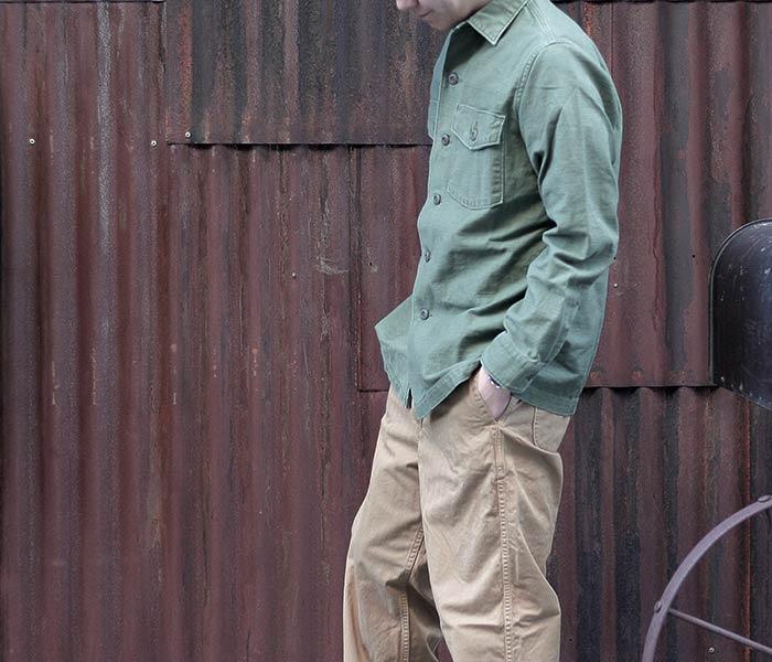 [送料無料]オアスロウ(オアスロー)/orSlow 日本製 ''グリーンユーズド''U.S.ARMY アーミーミリタリーシャツ (03-8045-216)