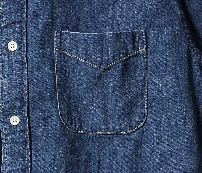 orSlow オアスロウ 日本製 ボタンダウンシャツ ユーズド加工 デニム (01-8012-95)