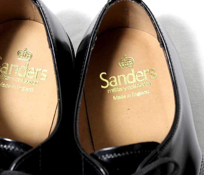 [送料無料]サンダース/SANDERS 英国製 ''ブラック'' ミリタリー サービスシューズ プレーントゥ オフィサーシューズ (1384-BLACK)