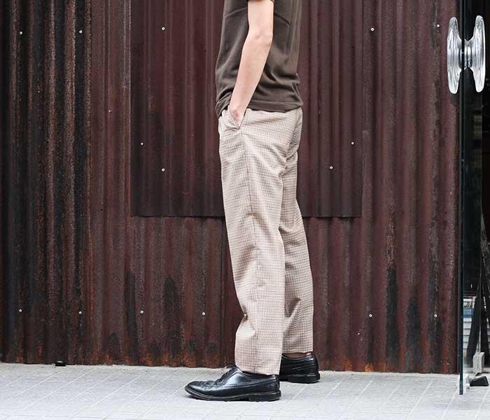 SCYE サイ 日本製 ガンクラブチェック トラウザーズ 1プリーツ テーパード スラックス パンツ (1119-81042)