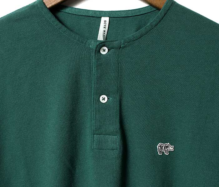 SCYE BASICS サイ ベーシックス 日本製 ''2019年春夏モデル'' 40/1鹿の子 ヘンリーネックシャツ Tシャツ (SCYE-KANOKO-HENLEY(5119-21605))