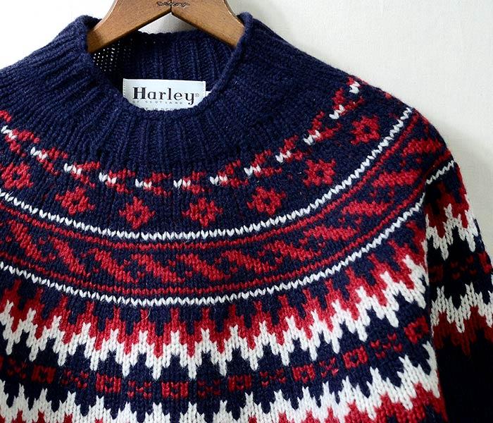 [送料無料]ハーレーオブスコットランド/HARLEY OF SCOTLAND  英国製 雪柄 セーター モックネック スノーパターン ニット (HARLEY-M3589-7)