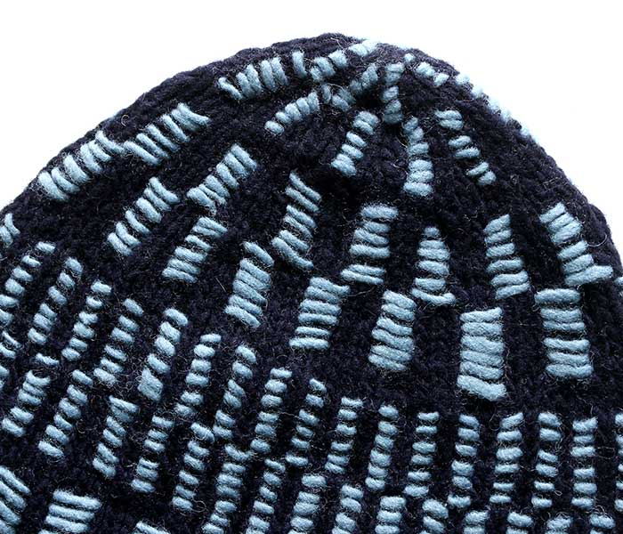 GAIJIN MADE ガイジンメイド ペルー製 ニットキャップ クロス 刺し子 ニット ハンドメイド GKW 135 CROSS SASHIKO KNIT CAP (GKW-135-KNIT-CAP)