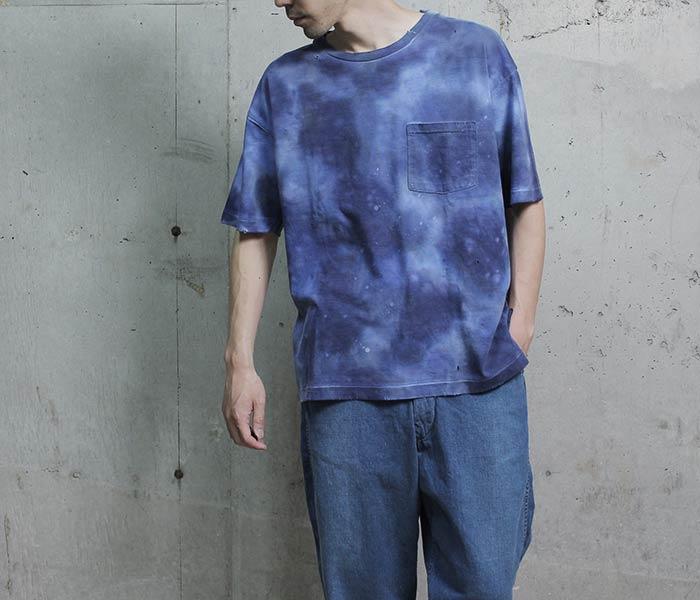 [送料無料]ハイブリュージェイ/HI BLEU J 日本製 ハンドタイダイ Tシャツ ドロップショルダー ポケT (HBJ18-SS14B-TIEDYE)