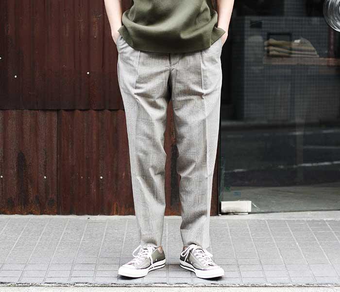ウィリアムズバーグ&コー Williamsburg & Co. ダンボ テーパード トラウザーズ ブラウングレンチェック パンツ DUMBO TAPERED TROUSERS GLENCHECK UK DEADSTOCK MADE IN JAPAN (WB192101-DUMBO-BROWN)