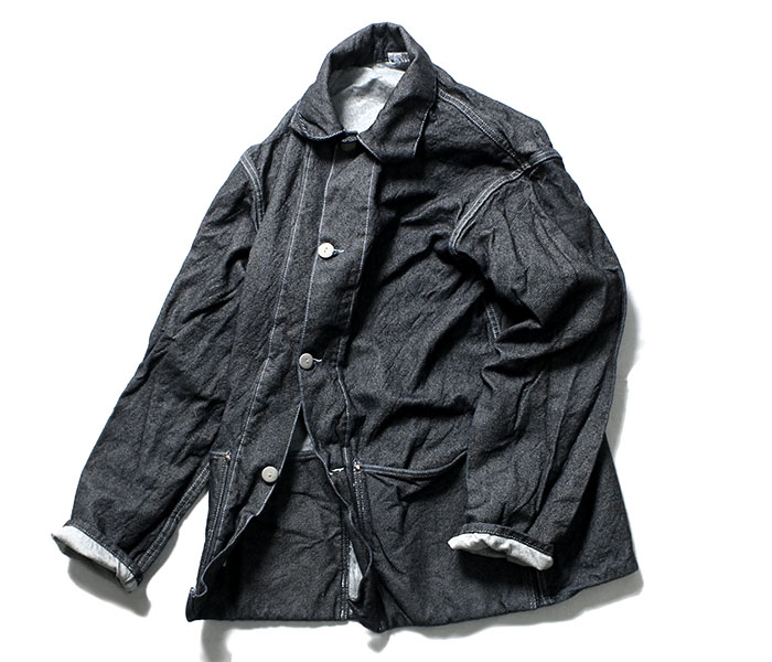 テンダー TENDER Co. 英国製 19oz デニム ジャケット ワンウォッシュ エリ付き TYPE 935 Collared Shepherd's Coat 19oz Cross Weave Denim Rinsed Wash (935-SHEPHERD-19OZ-DNM-RINSE)