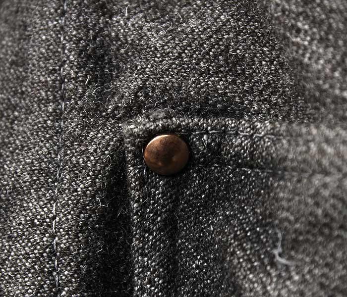 テンダー TENDER Co. ウール ジャケット ライランドウール コットンツイル インディアンブラック染め エリ付き TYPE 935 Collared Shepherd's Coat (935-SHEPHERD-WOOL-BLACK)